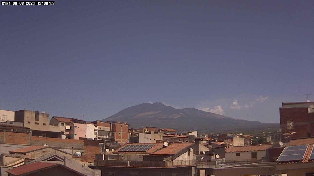 Онлайн веб камера Италия Сицилия вулкан Этна. Вид с города.